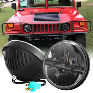 """2X Black 7"""" inch Round LED Headlights Hi/Lo Beam For AM General Hummer 1992-2001"""