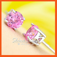 18K GOLD GF E39 LADIES GIRLS SILVER Round STUD EARRINGS PINK DIAMOND CRYSTALS
