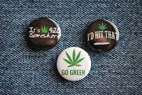 "Pro Marijuana Weed Pin Pinback Button 1"" 420 somewhere Mary Jane Go Green leaf"
