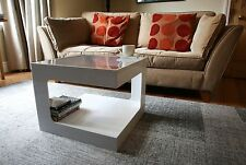 Acrylic Perspex Plastic Coffee Table. Square. Black or White. Clear Top. UK made