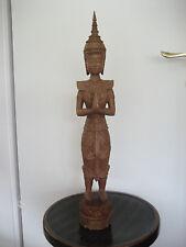 Mandalay-Buddha-Figur, Tempelwächter, feine, Holzschnitzerei, ca. 60 Jahre alt