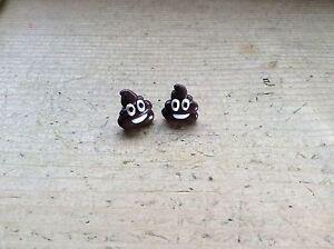 Emoji Poop Poo Earrings Studs Handmade Cute Pile Of Poo Gift