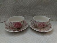 Johnson Brothers ROSE CHINTZ PINK 2 Cup & Saucer Sets GREAT CONDITION