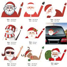 2× Christmas Waving Santa Claus Stickers Car Window Wiper Decals Xmas Home Decor