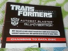 TRANSFORMERS FALL OF CYBERTRON AUTOBOT BLASTER INSTRUCTION BOOKLET