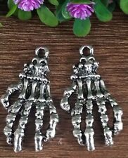 Wholesale 2pcs Tibet silver Skeleton Hand Charm Pendant beaded Jewelry Findings