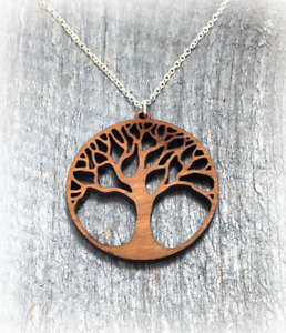 Tree of Life Wood Pendant Necklace Cherry Yoga Nature Handcrafted in the USA