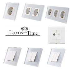 Steckdosen Lichtschalter Wandschalter Wechselschalter Glasrahmen LUX4099 Weis