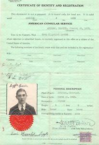 1935 Certificate American consulate Antwerp Belgium1$ fee stamp Consular service