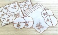 24 Vintage Embroidered Cocktail Napkins & Wine Glass Coasters Grape Leafs NOS