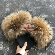 2020 Women's Large Fluffy Real Fox/Raccoon Fur Flat Slides Slippers Shoes Sandal