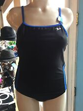 New Speedo Rapid Splice Energy Back Swimwear Black Blue $74 32