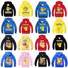 Kids Boys Girls Pokemon Pikachu Hoodie Sweatshirt Hooded Jumper Tops T-shirt New