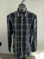 WOMENS LEVI'S BLACK GREY BLUE CHECKED LONG SLEEVE SHIRT SMALL S LEVI STRAUSS