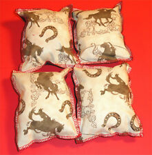 Cat Catnip Pillow Toy - Hand Made Horses Cowboys Mix Patterns Rectangle - 4 ea