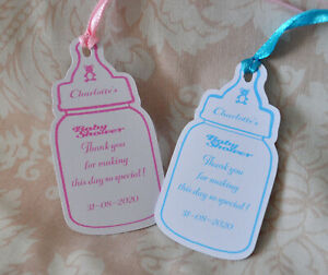 personalised  baby shower tags  (Bottle)