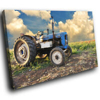 SC115 Retro Blue Green Tractor Landscape Canvas Wall Art Large Picture Prints