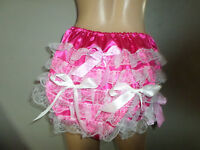 ADULT BABY SISSY DEEP PINK SATIN LACE TRIM PANTIES WHITE  BOWS 30-45  WAIST