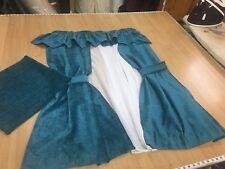 """Static Caravan Curtains,pelmet,ties,net & bed runner in Teal Chenille 25""""w x 42"""""""
