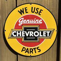 VINTAGE 1959 CHEVROLET PORCELAIN SIGN OIL GAS STATION AUTO TRUCK PARTS SERVICE