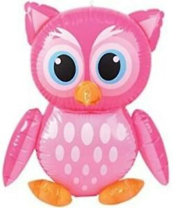"""24"""" Pink Owl With Front Oval Spots Inflatable Inflate Blow Toy Party Decoration"""