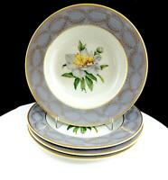 "PRINCESS CHINA EMPCRAFT EMBASSY PEONY GOLD LAUREL 4 PIECE 8"" RIMMED SOUP BOWLS"