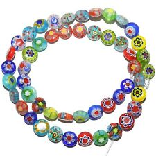 """G4160L2 Assorted Color Mixed 8mm Flat Round Millefiori Flower Glass Beads 14"""""""