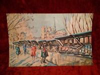 Josy Raynal lithographie Paris les bouquinistes Notre Dame signée état parfait !