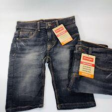 2 Boys Wrangler Slim Straight Jean Shorts Adjustable Waist Flex 10R Black Denim