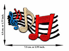 Note Music Song Colorful V04 Applique Iron on Patch Sew For T-shirt Jeans Cap