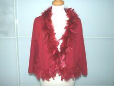 MONSOON Red Fine Knit Bolero Lambswool Angora Blend Real Feathers size UK 18