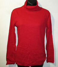 Sweater Small Red Turtleneck Top Ribbed Cotton Blend Stretchy Soft NWT G1027
