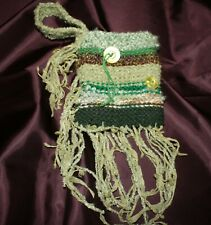ladies small hand knit  green purse with wristlet strap and button decorations