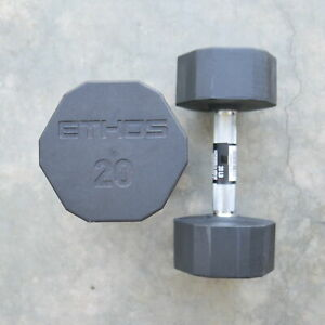 ETHOS 20 lb Set PAIR Rubber Coated Hex Dumbbells 40 lbs Pound total SHIPS FAST!