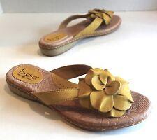 Women's 8 (39) BOC Born Mustard Yellow Leather Flower Thong Slip On Sandals