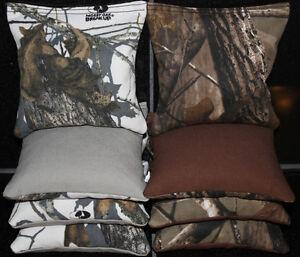 8 CORNHOLE BEAN BAGS Mossy Oak Breakup REALTREE Real Tree Camo Camoflauge Bags