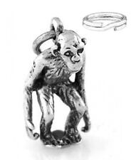 "Sterling Silver ""Orangutan/Monkey"" Charm W/ Split Ring"