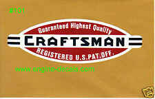 "Craftsman lathe vintage style decal 2 3/16"" 2 for 1"