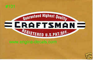 """Craftsman Tools 109 lathe vintage style decal 2 3/16"""" 2 for 1"""