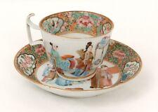 Tasse soucoupe porcelaine Canton personnages femmes éventail Chine XIXème