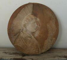 Antique French terracotta wall plaque of French woman 1905