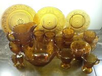 Tiara Indiana Glass Amber Plates Cups Saucers & Goblets