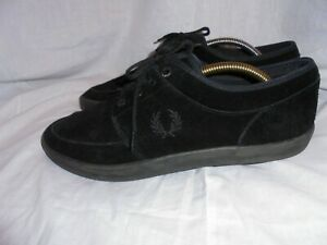 FRED PERRY MEN BLACK SUEDE LEATHER LACE UP TRAINERS SIZE UK 10 EU 45 US 11 VGC
