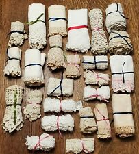 Mixed Lot Vintage Cotton Lace, Crochet & Eyelet Trims for Sewing Crafts