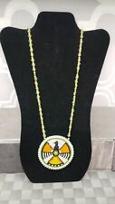 LARGE Beaded Medallion Necklace Native American LEATHER BACK