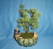 Vintage Chinese Mudman Fishing & Frog Pottery Bonsai Bowl Chinoiserie Planter