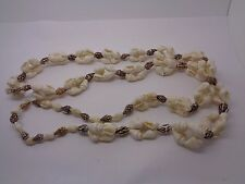 """NATURAL SHELL NECKLACE  FESTIVAL PARTY PROM CREAM & BROWN FLAPPER LENGTH 34"""""""