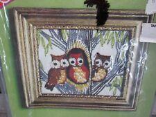 Vintage 70s Crewel Embroidery Three Owls Tree Picture Frame Kit Pauline Denham