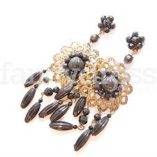 Antique Gypsy Women Girl New (De05) Black and Gold Pendant Earrings Flamenco