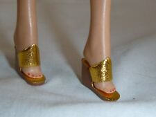 Vtg 60s Barbie Gold Wedge Sandals mood For Music Dinner at Eight